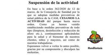 Suspensión de la actividad en Mundifantasía por el Covid19